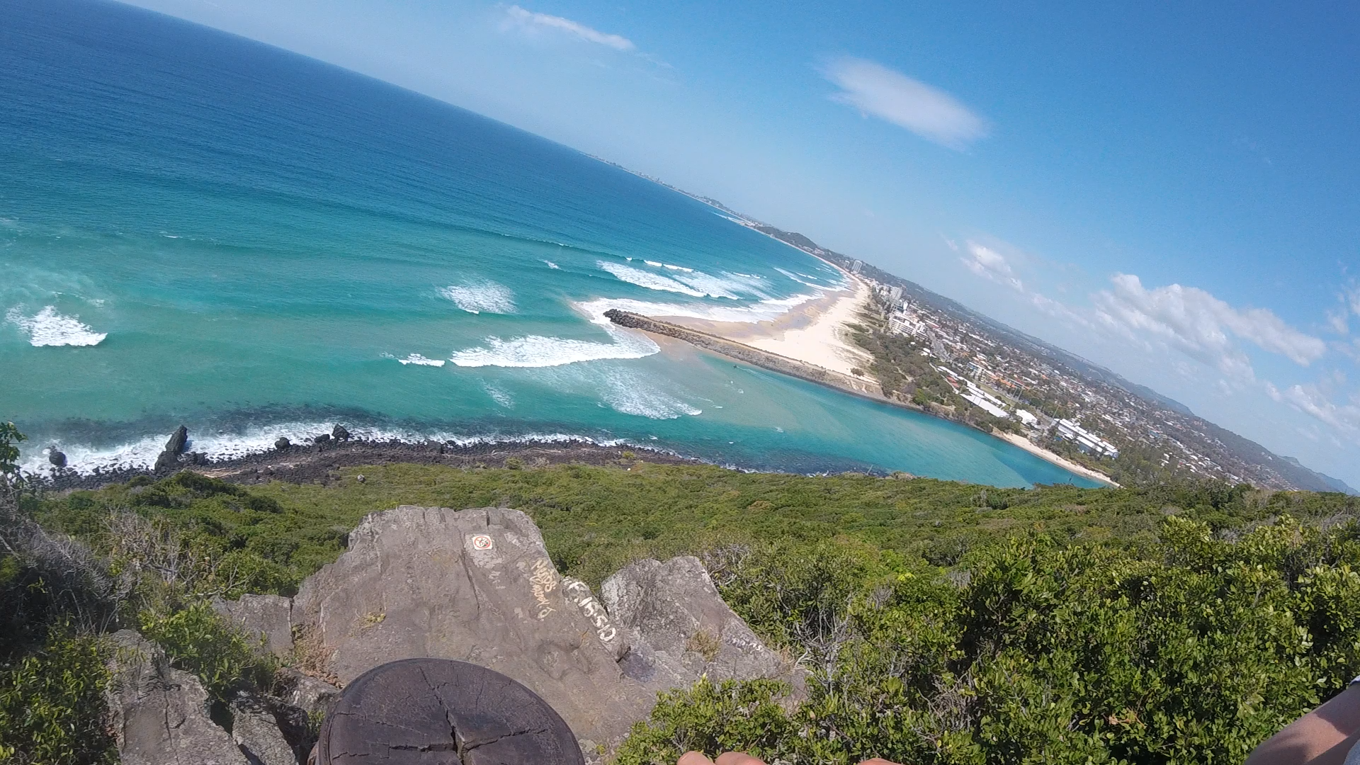 The view at the top of Burleigh Heads.