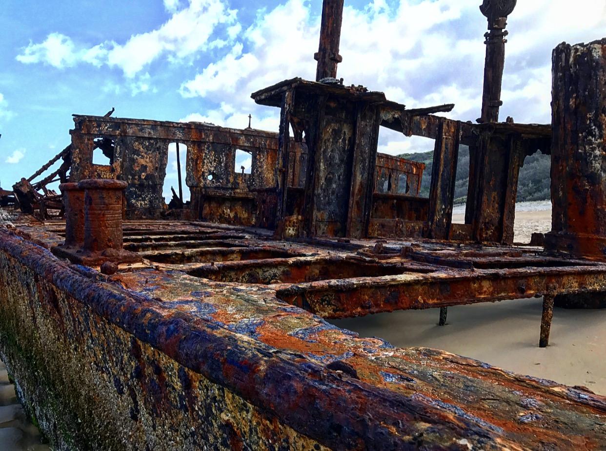 The Maheno shipwreck.