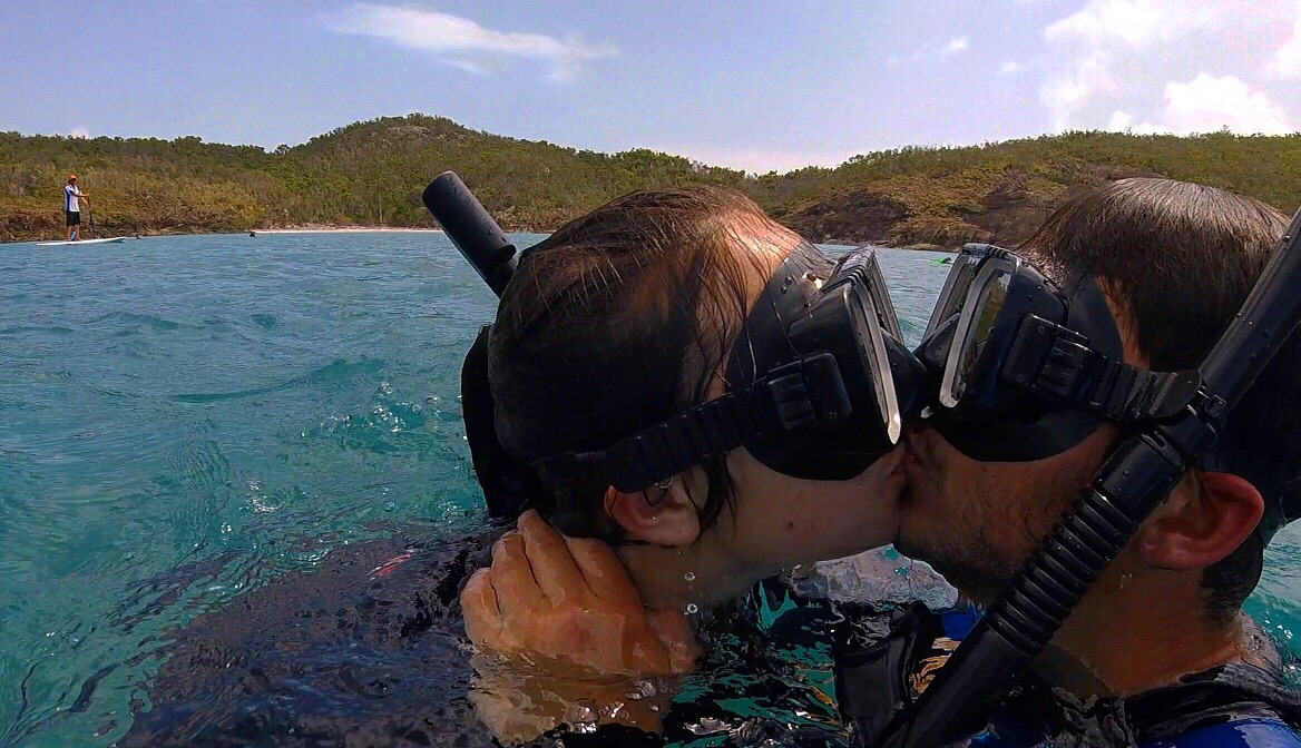 Snogging with snorkels.