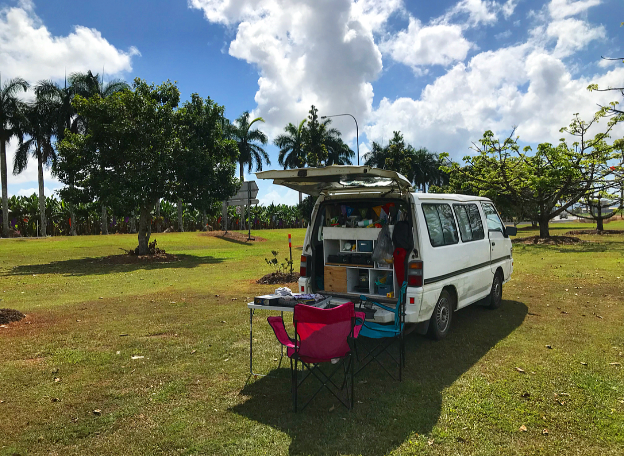 Free camping opposite banana fields in Innisfail.