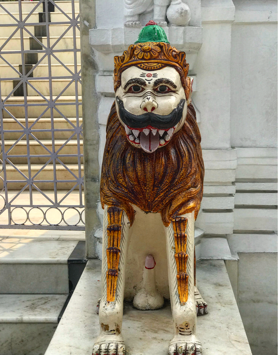 An interesting statue outside one of the temples in   New Delhi.
