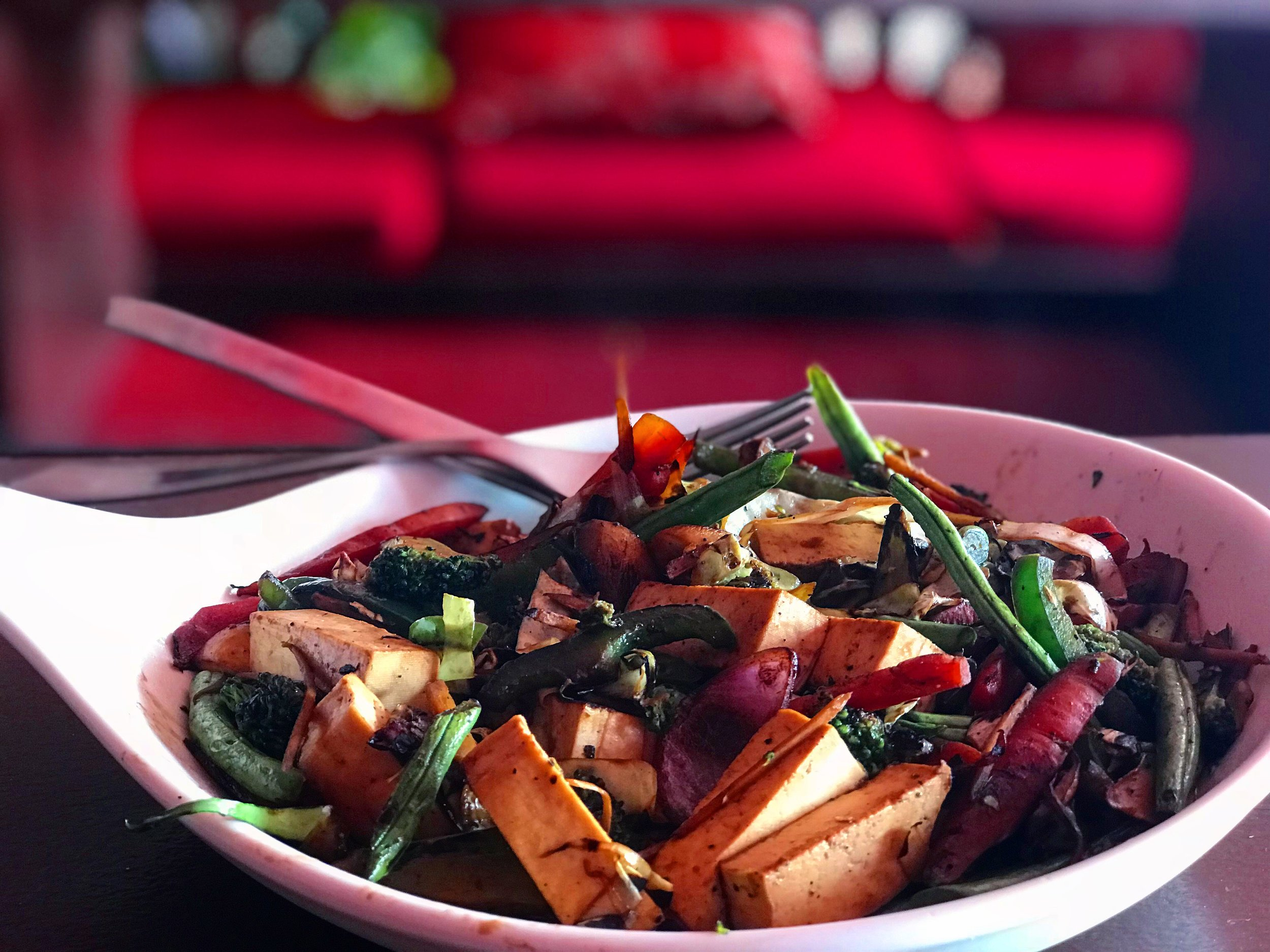 Stir fried veggie ginger tofus. (Sometimes a second lunch was required).