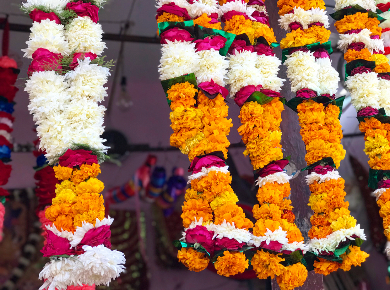 The beautiful fresh flower garlands that we wear during ceremony (you have to be careful the cows on the street don't eat them from around your neck though).