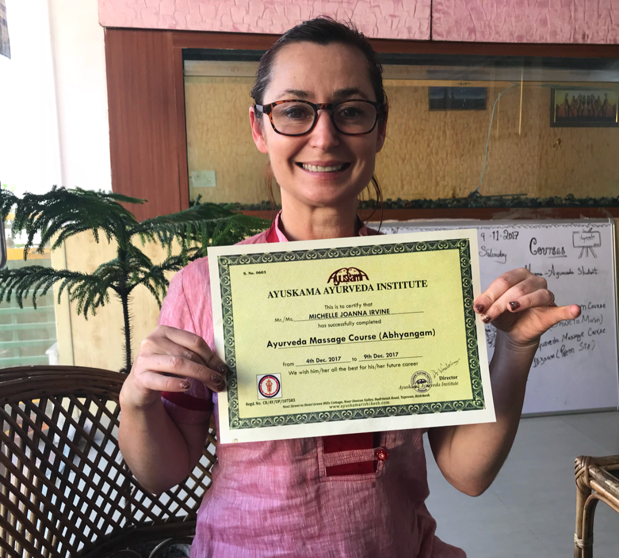 Certified Ayurveda masseuse.