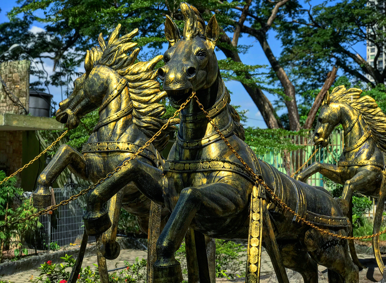 Some fierce looking horse statues.