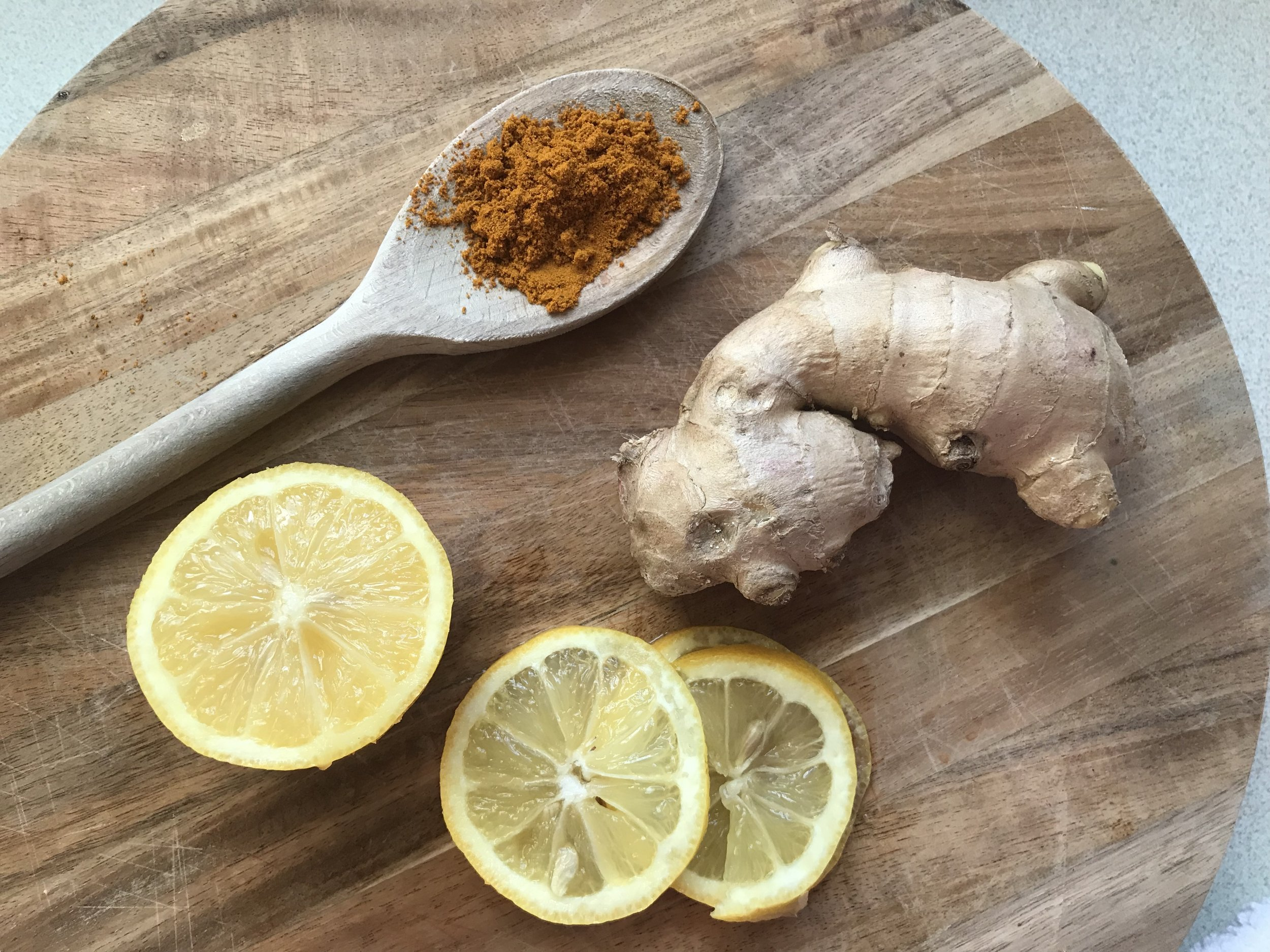 Organic turmeric, fresh ginger and lemon with hot water makes an excellent immunity booster.