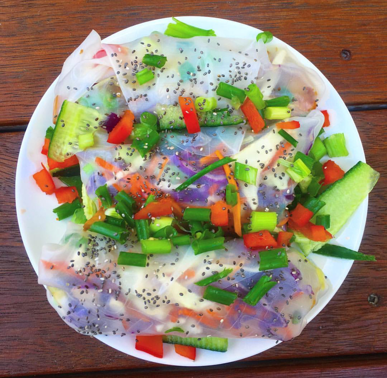 Now when I cook, I like to get colourful and creative! Here are my raw rice paper rolls.