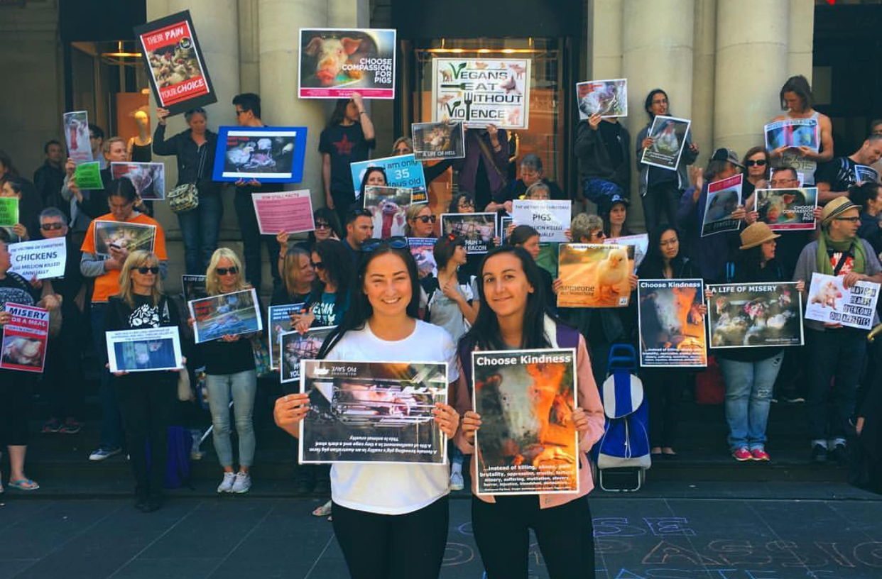 Emily, Steph and I at the silent protest against factory farming.