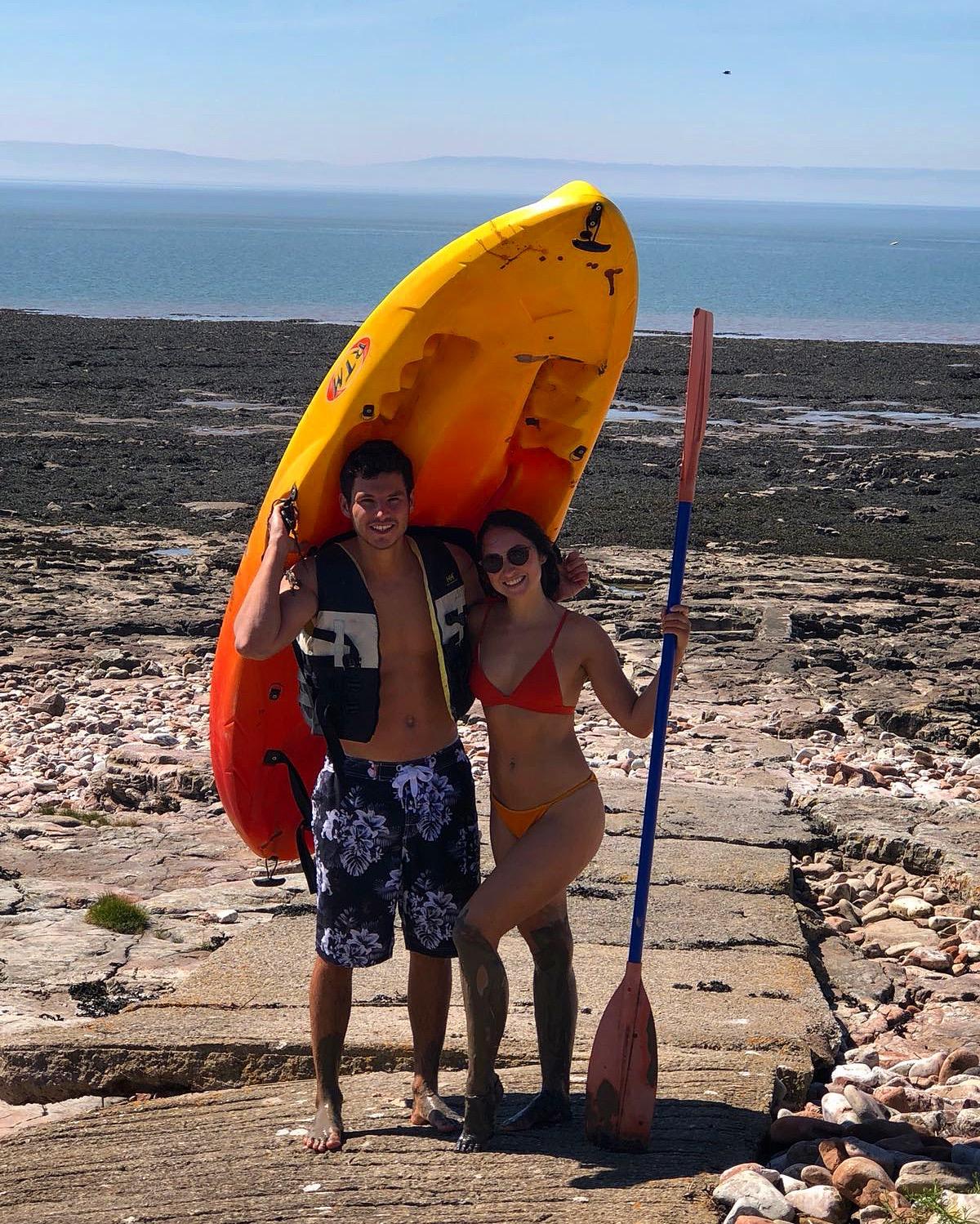 Henrik and I having a morning Kayak at a visit back home to the UK.