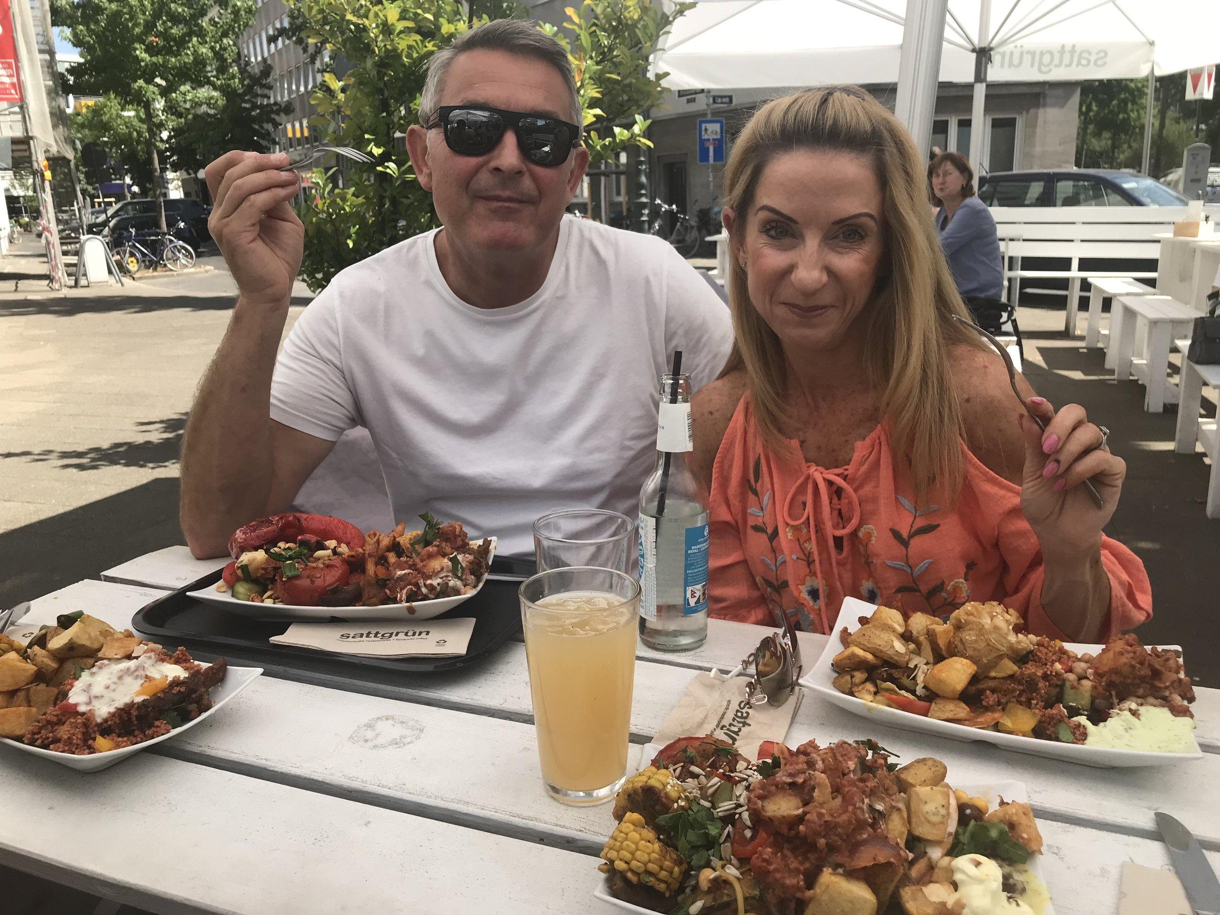 My dad and step momma at my favourite vegan restaurant in Düsseldorf.