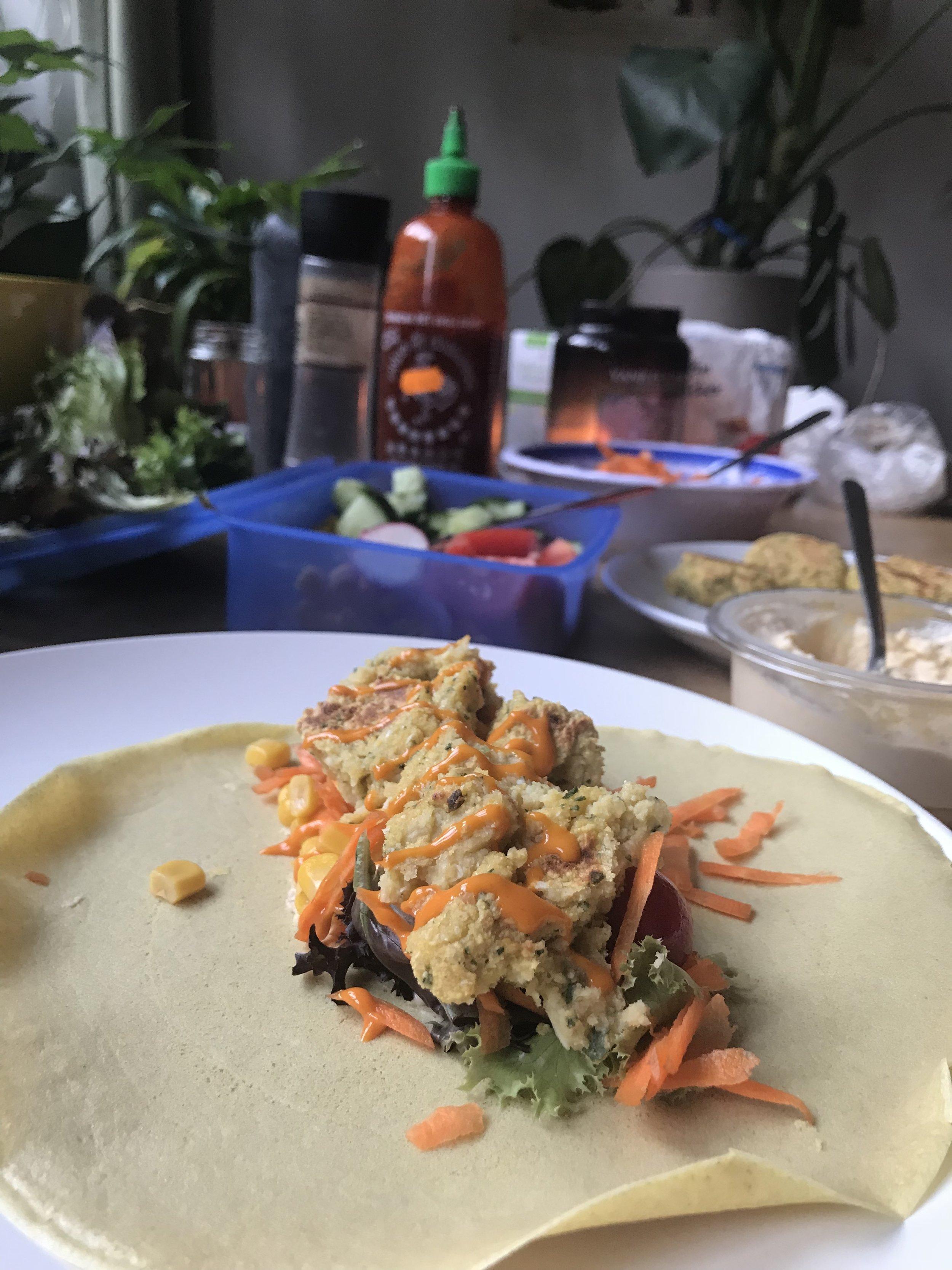 Homemade falafels & gluten free wraps with Kira