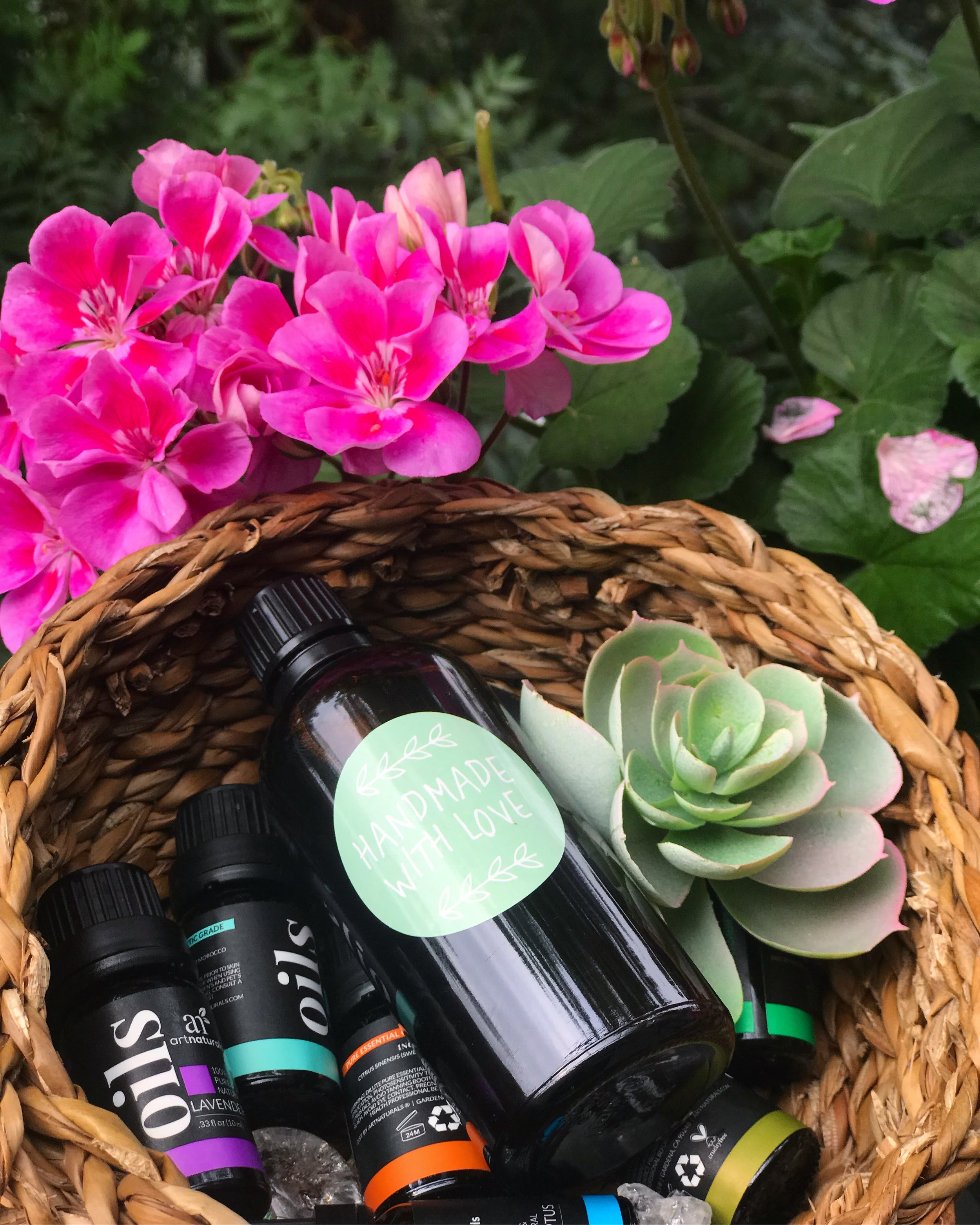 My lovely basket of essential oils which I love to make homemade beauty products with!