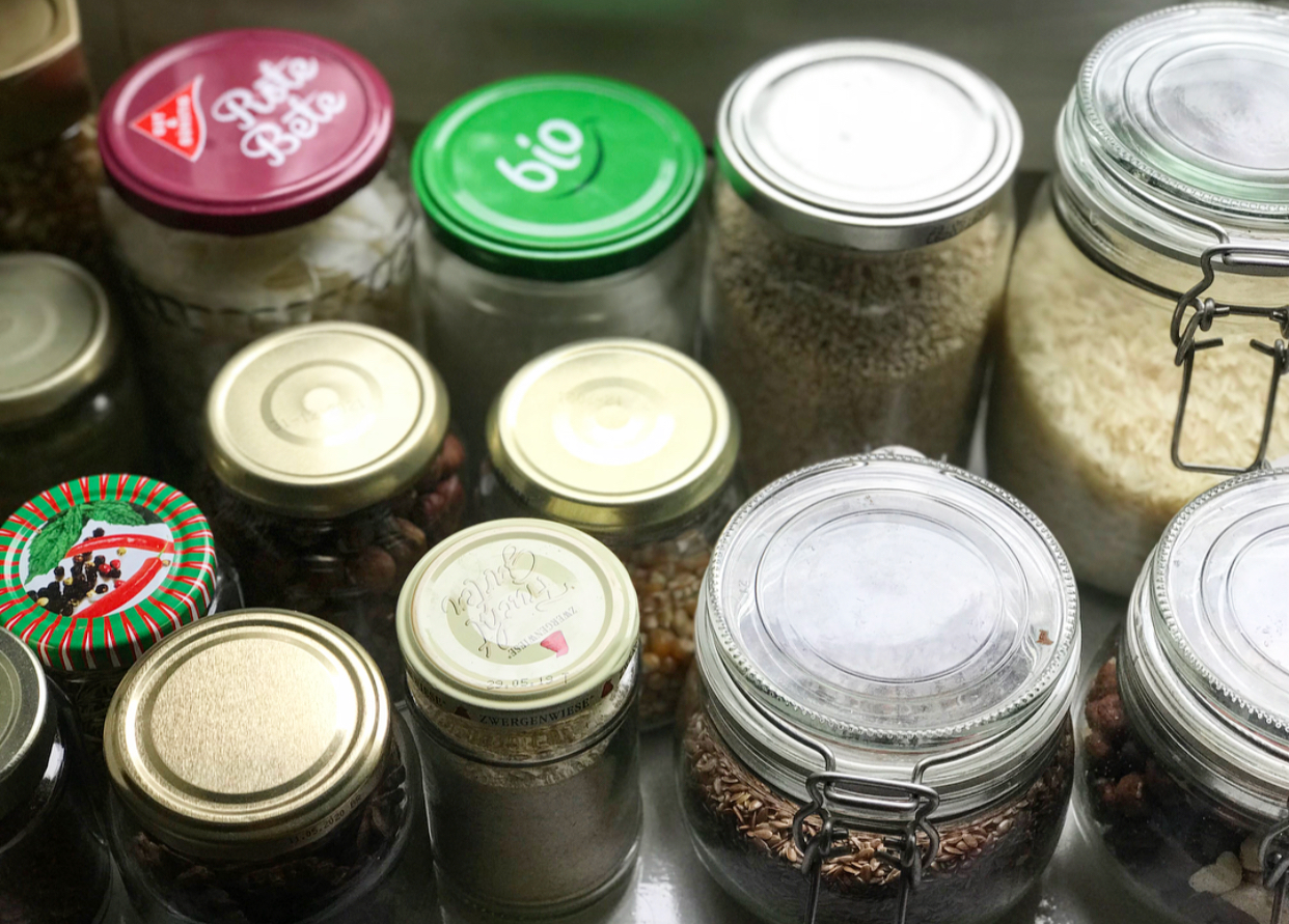 I'm obsessed with collecting used jars and filling them with different ingredients and health foods.