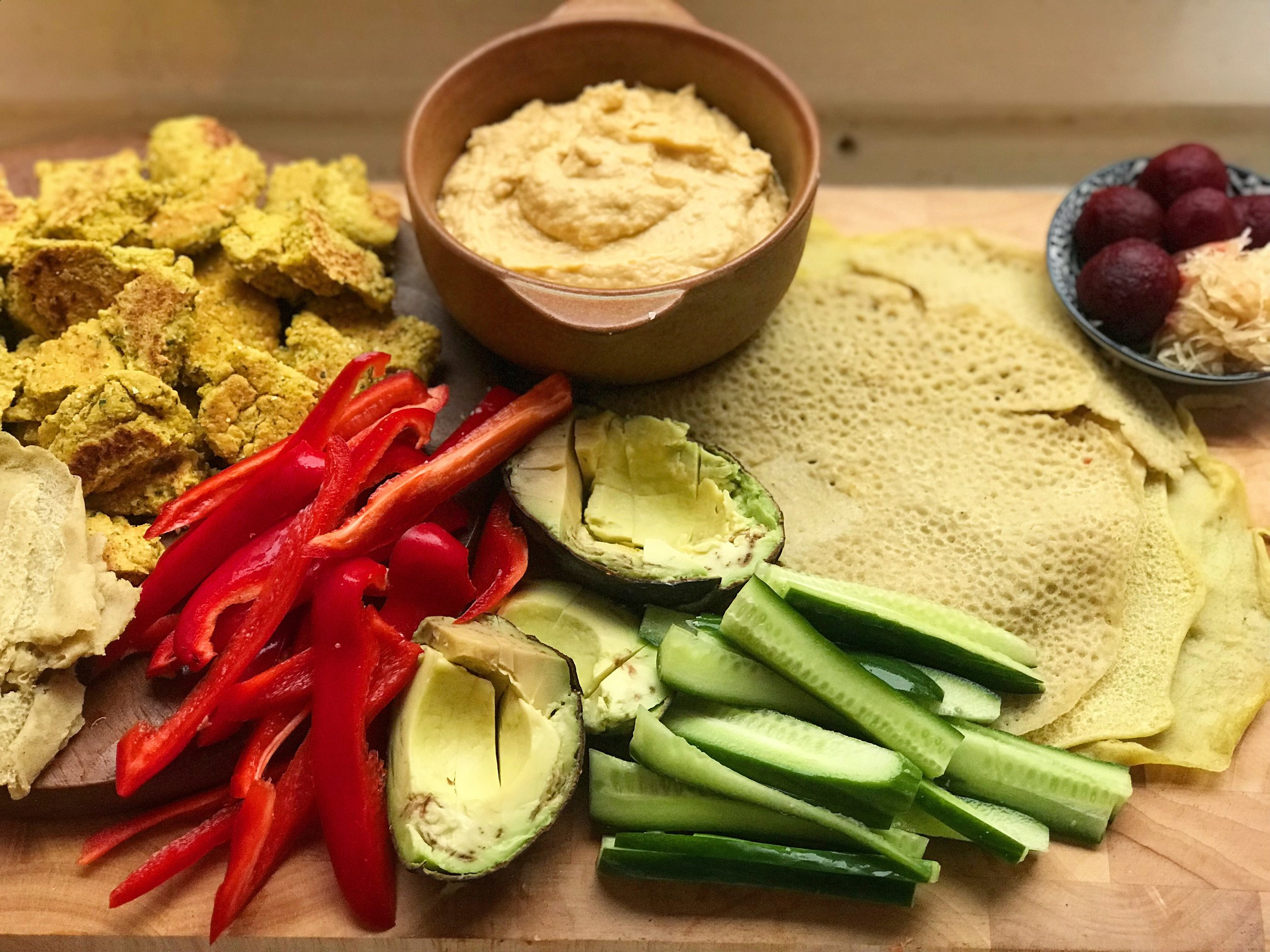 Homemade falafels & gluten free wraps (recipe in my upcoming ebook 'Gluten Free Vegan Recipes for Vitality'.