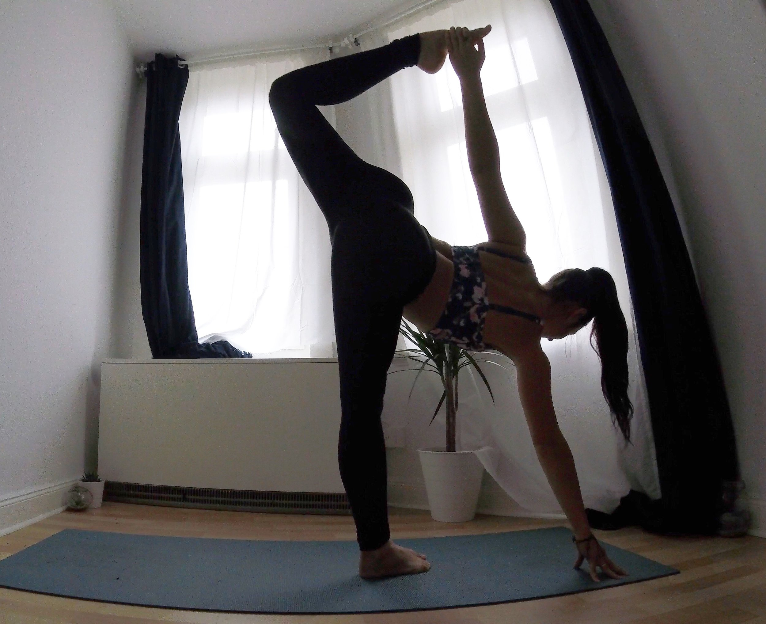 I love the yoga space that I have in my bedroom to practice.