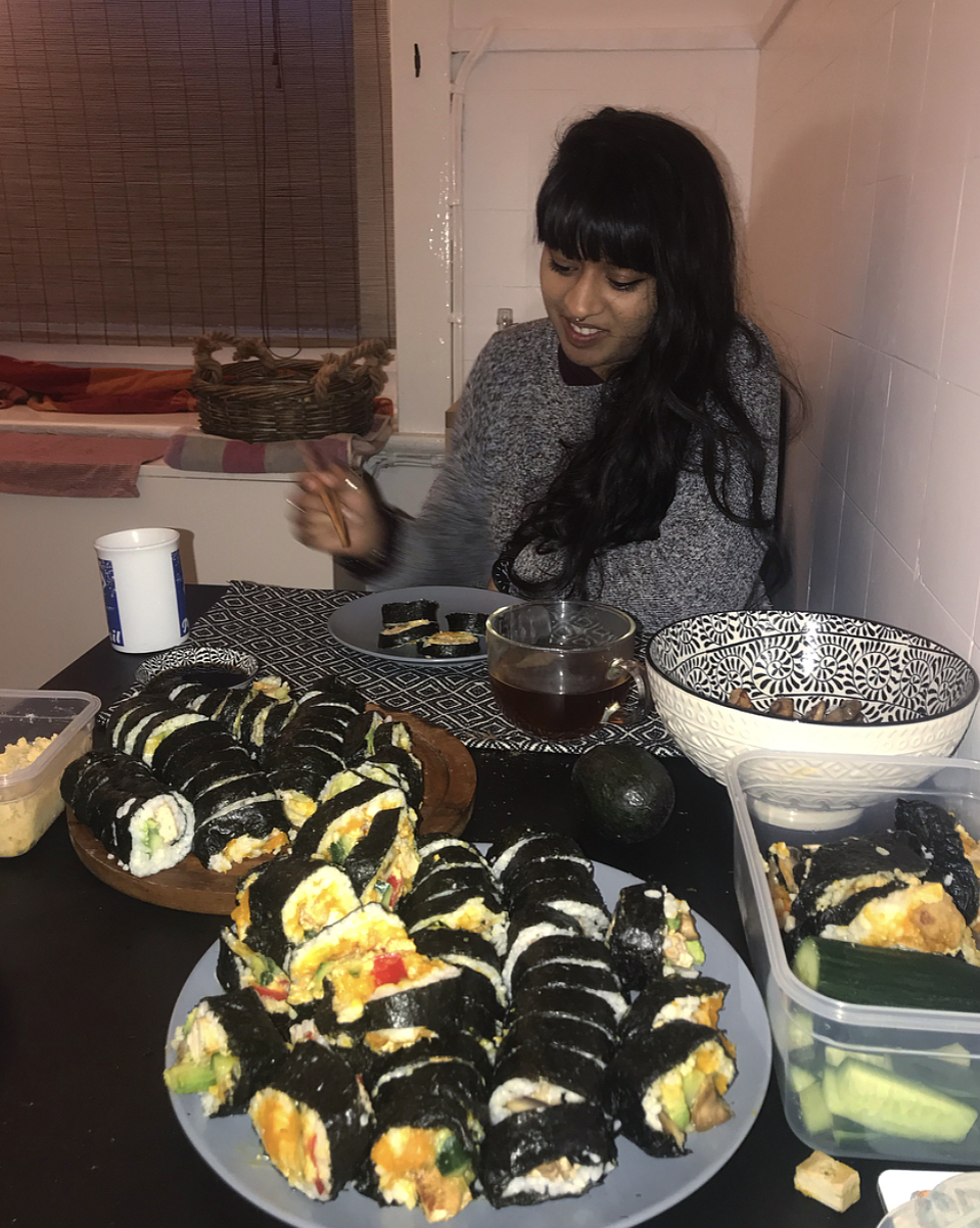 Tanya and I enjoying our copious amounts of homemade sushi!