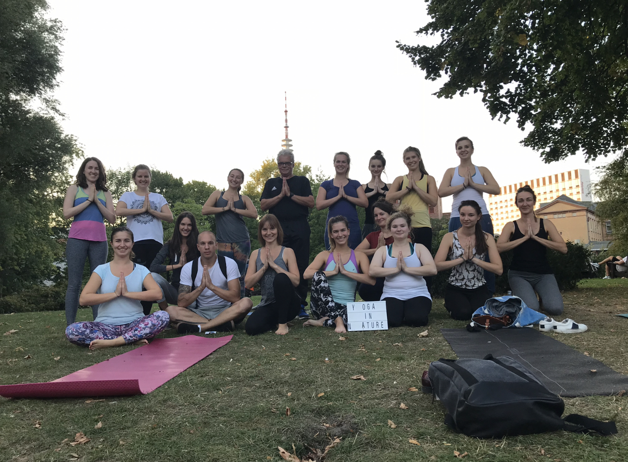 My first yoga in nature in Hamburg.