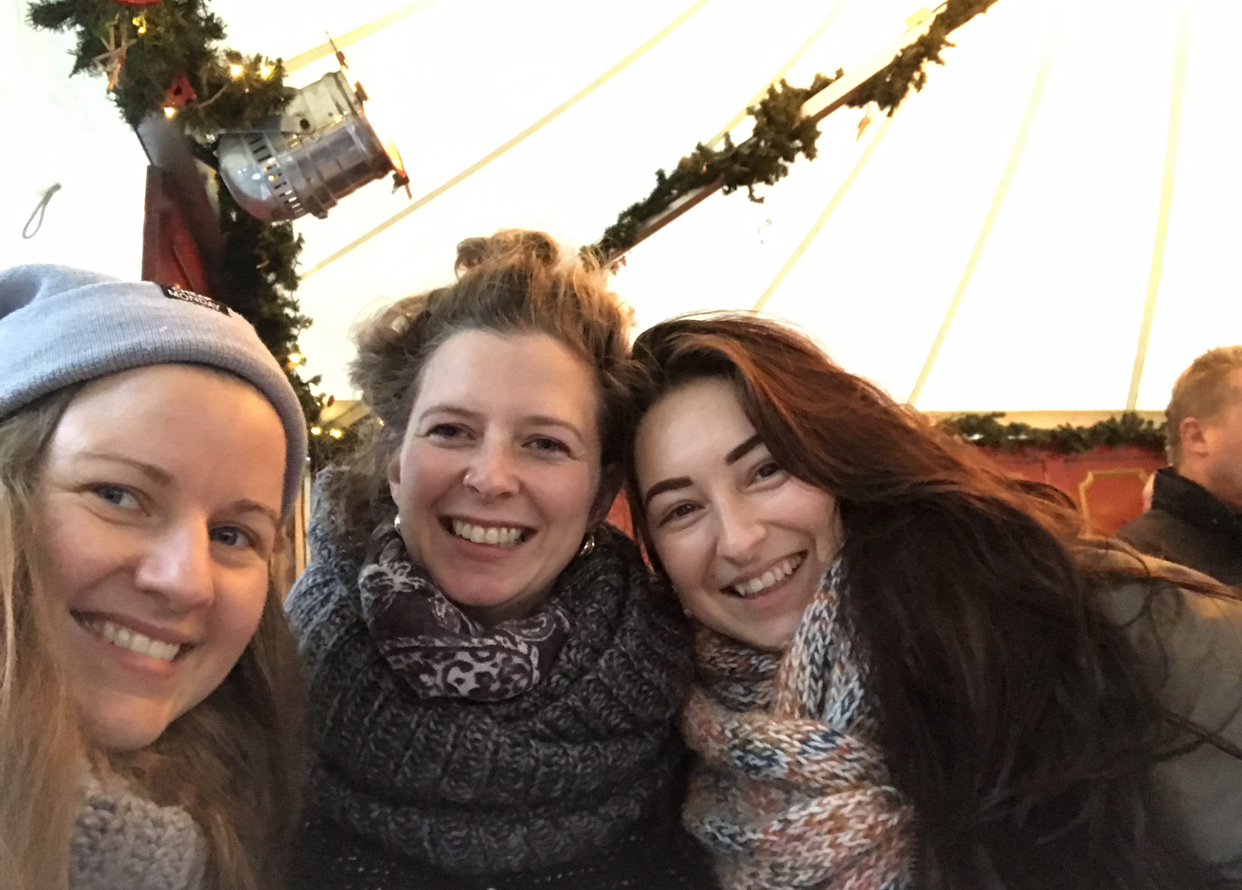 Christmas market fun with Britta and Sarah.