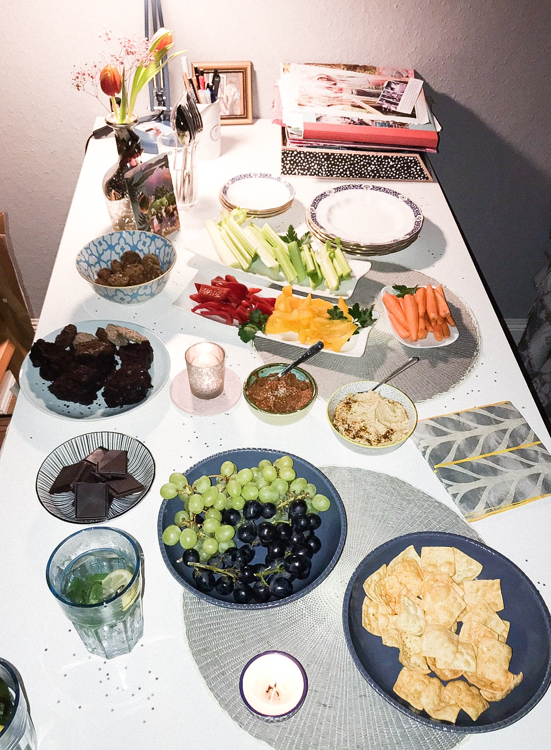 A delicious spread of snacks for a full moon gathering at Heathers.