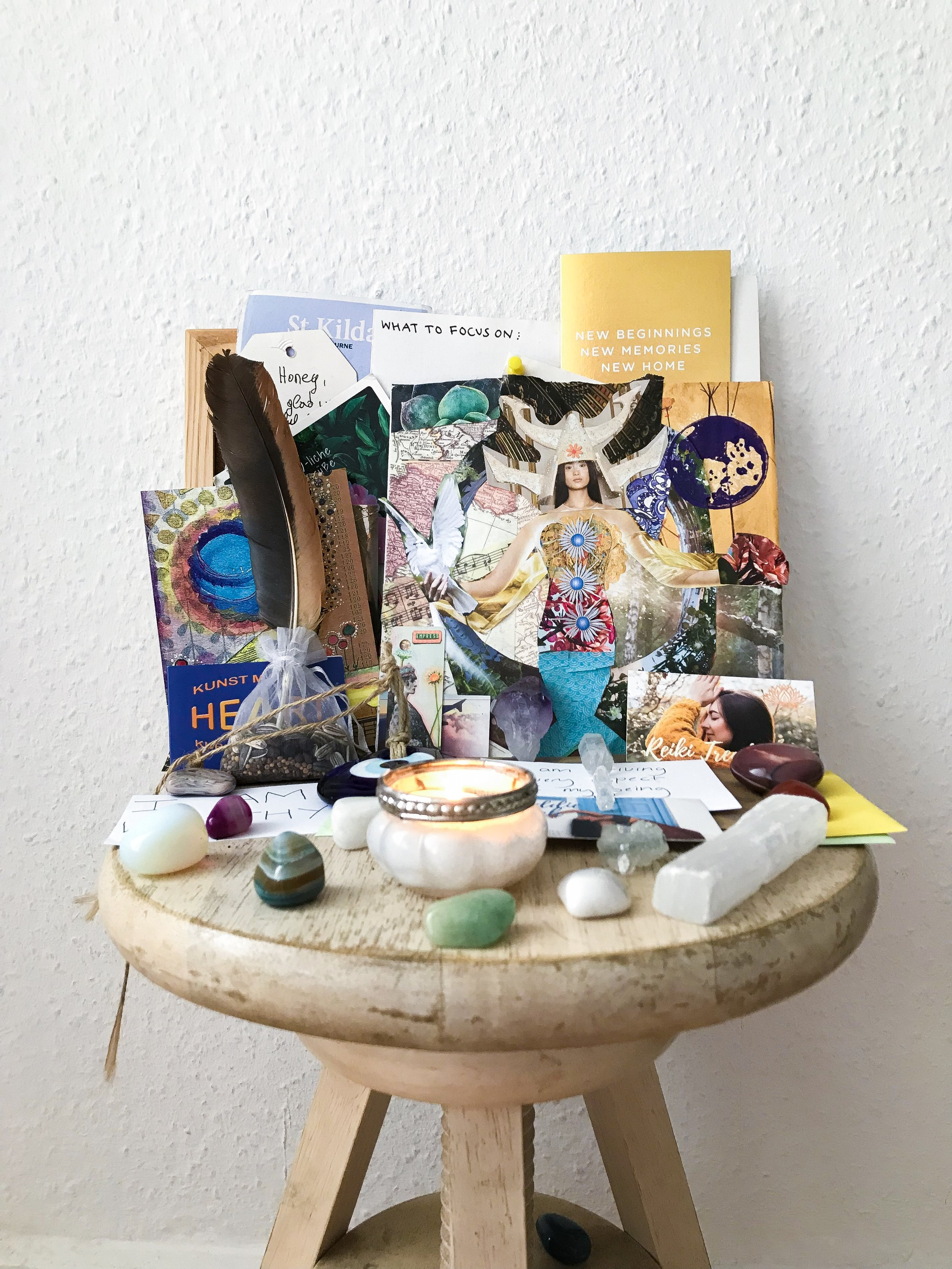 Create an altar as a sacred space for you to set intentions, practice gratitude, connect with your guides & meditate.