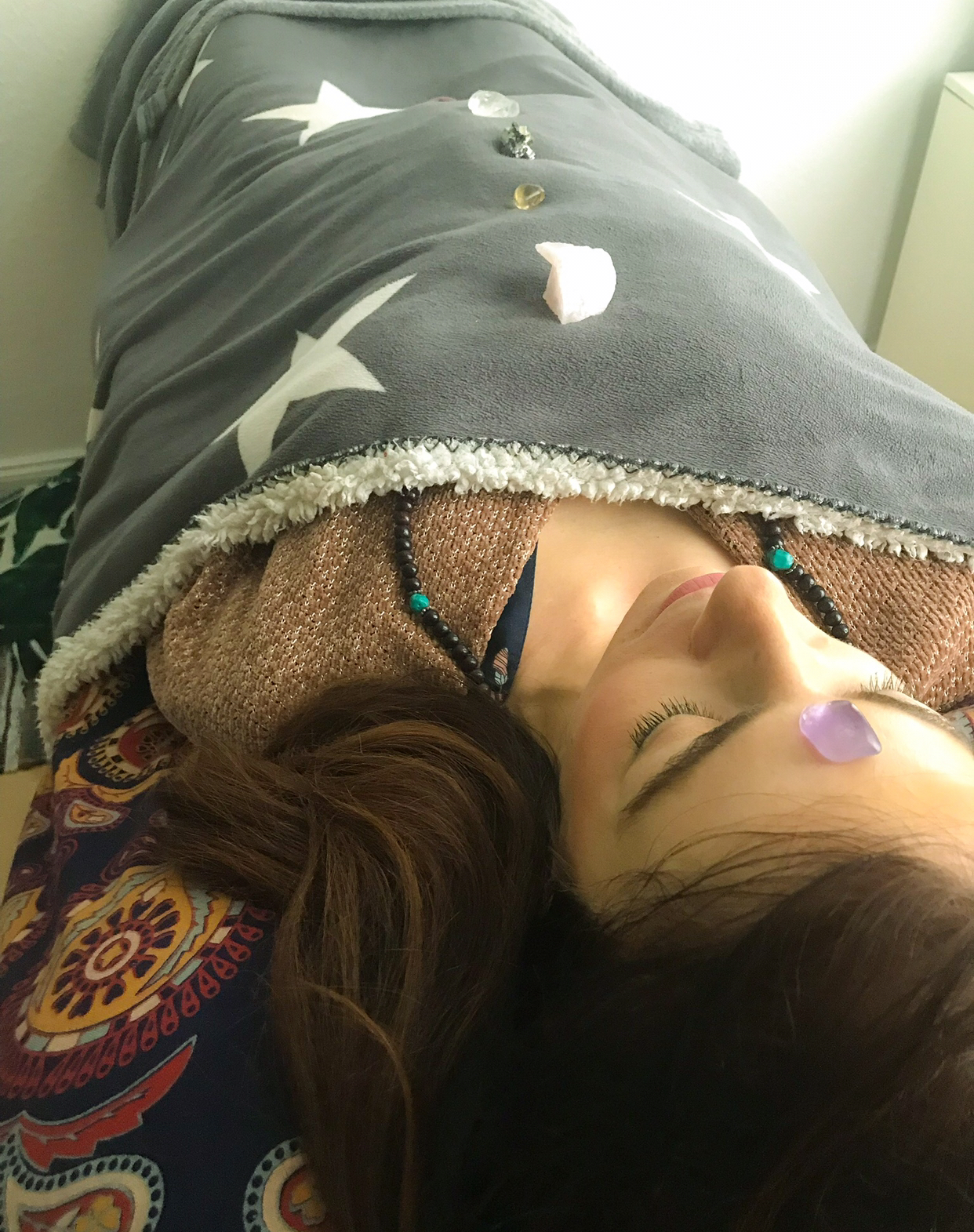 Giving Heather a birthday Reiki treatment.