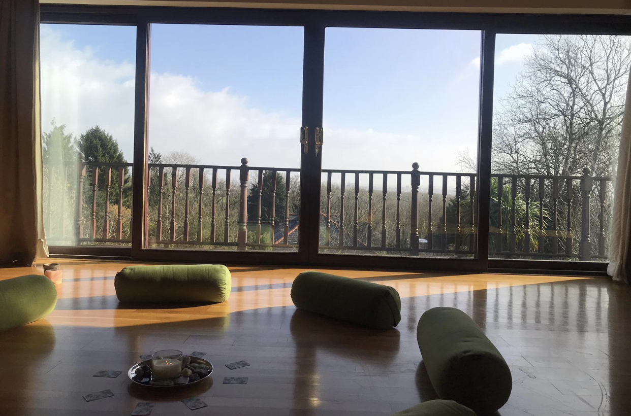 Grace's beautiful home yoga studio.