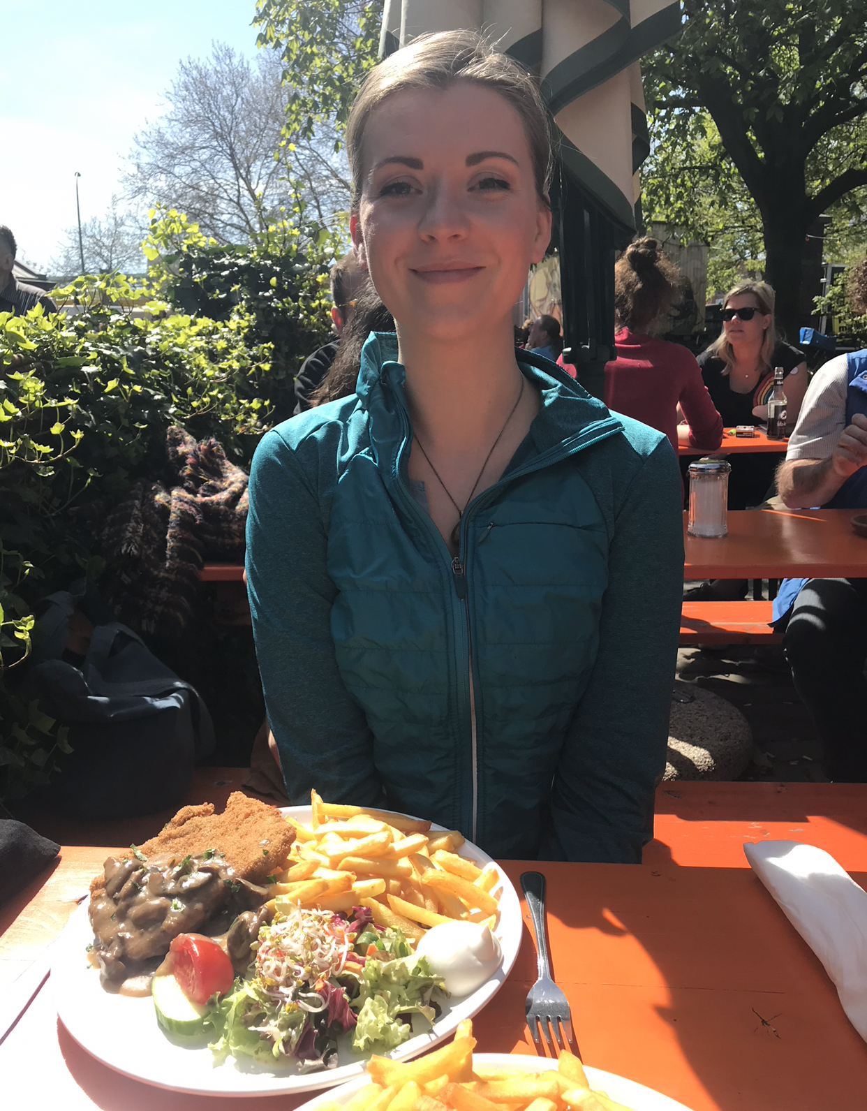 A huge traditional German (vegan) meal after our flea market shopping