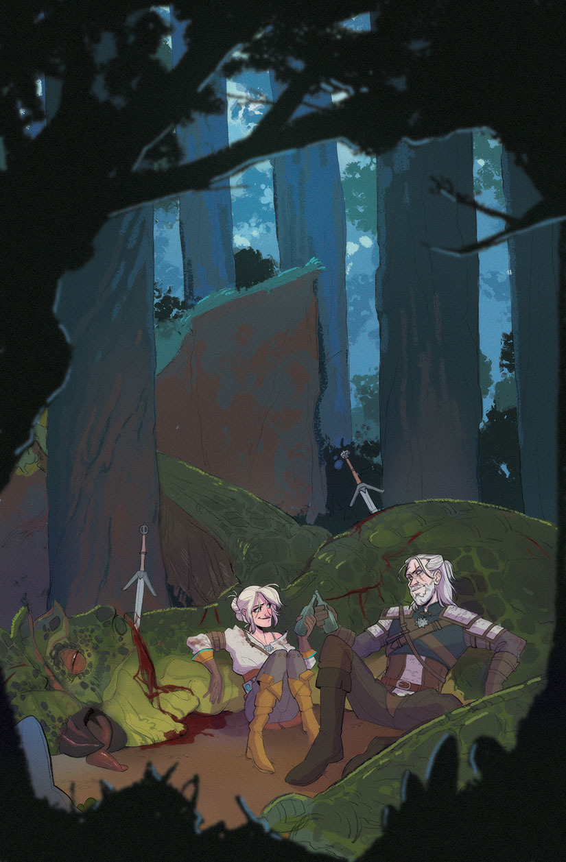 "Geralt and Ciri (The Witcher 3: Wild Hunt) - Featured in ""Found Family: A Charity Artbook"""