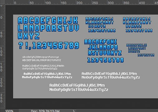 Recent batch of pixel fonts we've created for the game, some big and some very small!