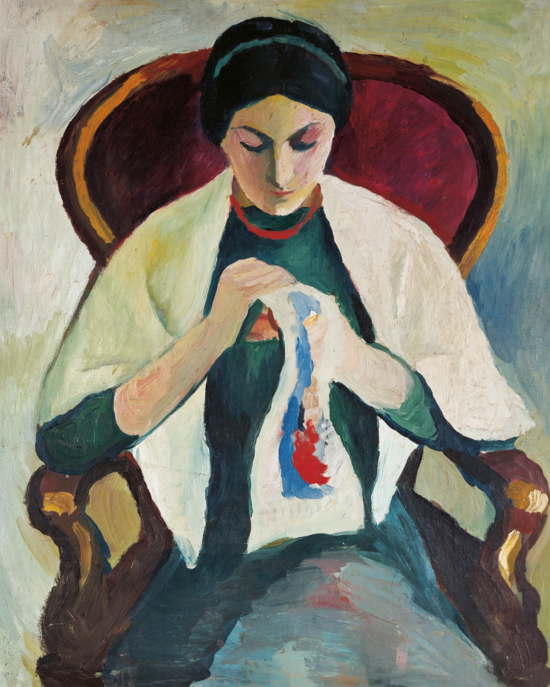 August Macke: Stickende Frau im Sessel, 1909/10, Öl auf Holz, 57,8 x 47,2 cm | Stiftung Sammlung Ziegler im Kunstmuseum Mülheim an der Ruhr | © Foto: Wolfgang Morell, Bonn