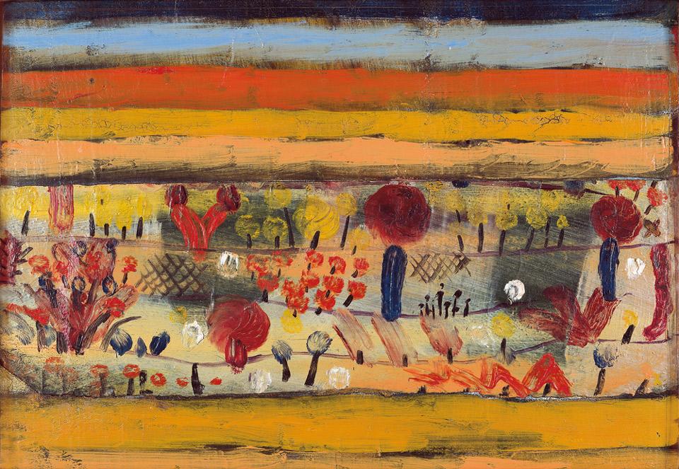 Paul Klee: Garten in der Ebene I, 1920, Öl auf Papier, auf Malpappe, 18 x 25,4 cm | Stiftung Sammlung Ziegler im Kunstmuseum Mülheim an der Ruhr | © Foto: Stiftung Sammlung Ziegler
