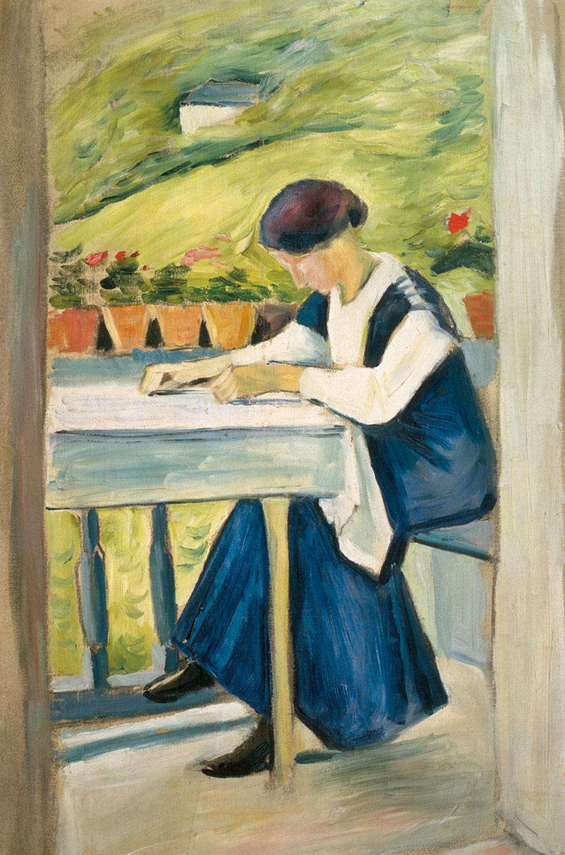August Macke: Mädchen auf dem Balkon II, 1910, Öl auf Leinwand, 60 x 40 cm | Stiftung Sammlung Ziegler im Kunstmuseum Mülheim an der Ruhr | © Foto: Stiftung Sammlung Ziegler