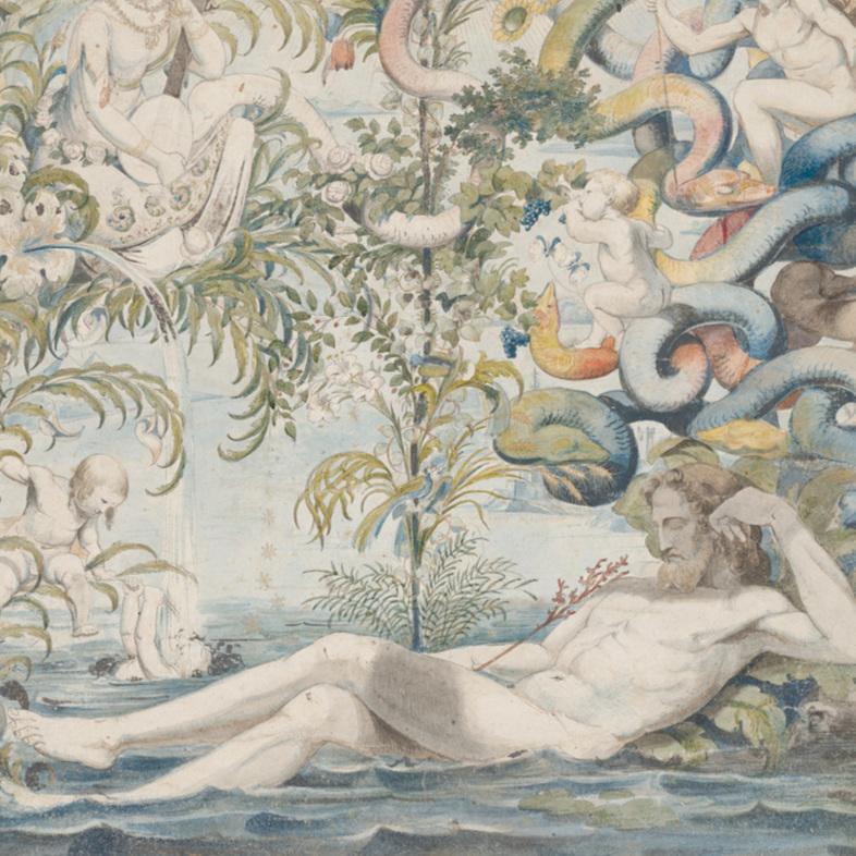 Moritz von Schwind: Adams Traum, um 1824, Feder und Aquarell mit Gold gehöht, 428 x 350 mm | Kulturstiftung Sachsen‑Anhalt – Kunstmuseum Moritzburg Halle (Saale) | Foto: Kulturstiftung Sachsen‑Anhalt