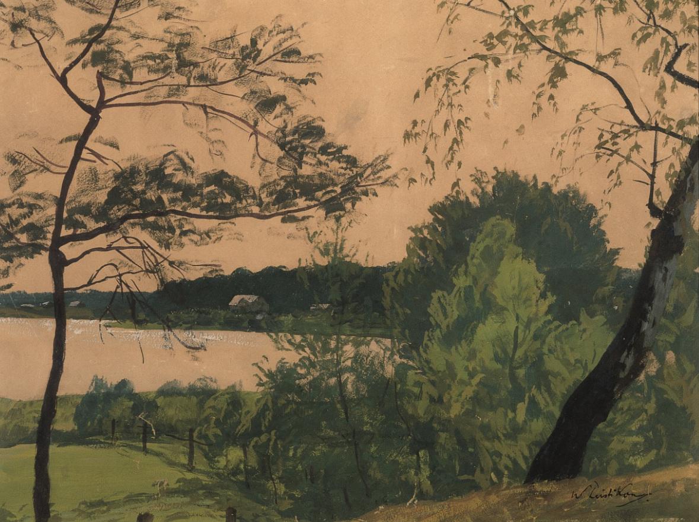 Walter Leistikow: Am Schlachtensee, um 1908, Öl auf Leinwand, 49 x 65 cm, Kulturstiftung Sachsen‑Anhalt – Kunstmuseum Moritzburg Halle (Saale), Foto: Klaus E. Göltz