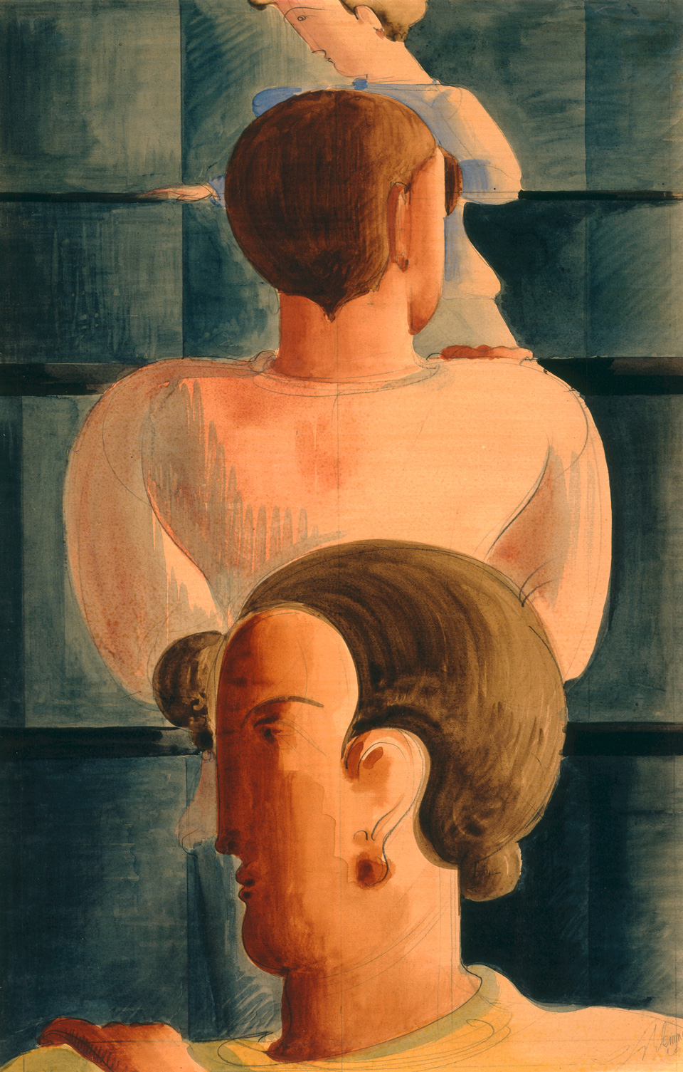 Oskar Schlemmer: Geländer-Szene I, 1931, Aquarell über Bleistift, 54 x 36 cm, Albertina, Wien, Sammlung Forberg, Foto: Peter Schälchli, Zürich - Inv. DL320
