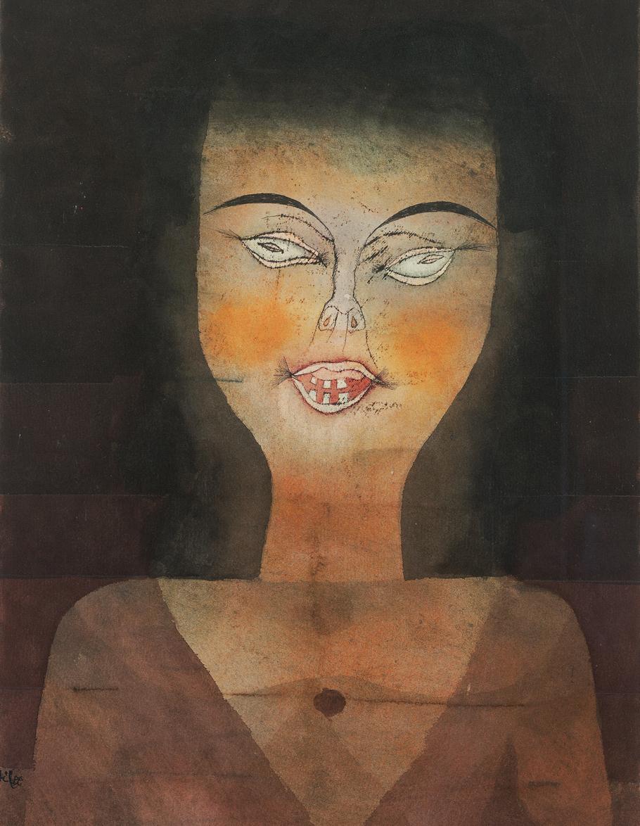 Paul Klee: Besessenes Mädchen, 1924, Aquarell und Ölfarbenzeichnung auf Papier auf Karton, 44,2 x 29,2cm, Fondation Beyeler, Riehen/Basel, Sammlung Beyeler, Foto: Robert Bayer