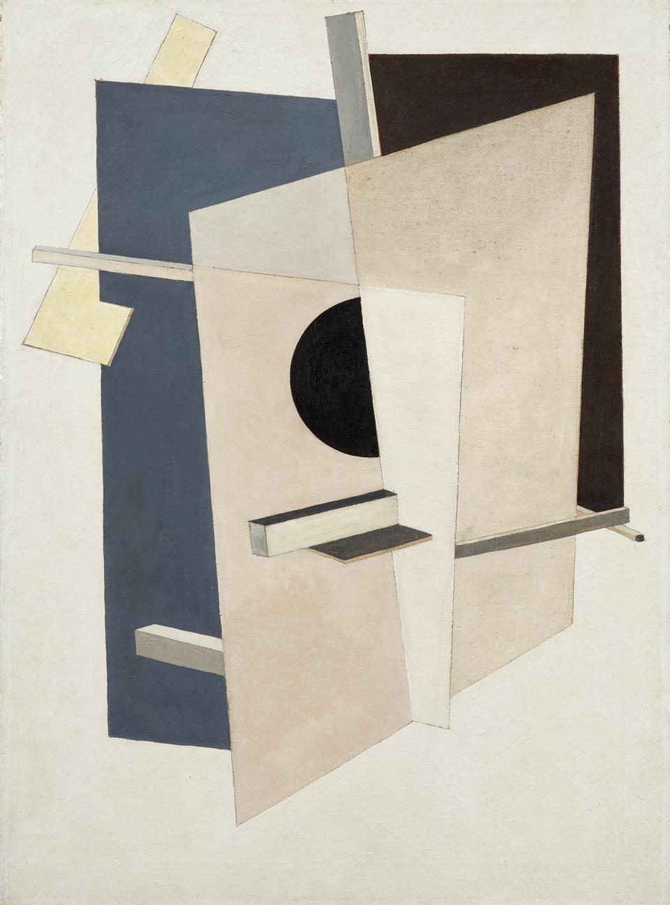 El Lissitzky: Proun 6, um 1919-1920, Öl auf Leinwand, 81 x 59 cm, Kulturstiftung Sachsen-Anhalt, Kunstmuseum Moritzburg Halle (Saale), Foto: Punctum/Bertram Kober