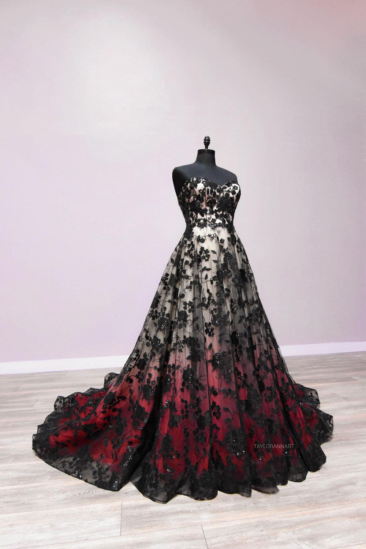 red n black wedding dress online