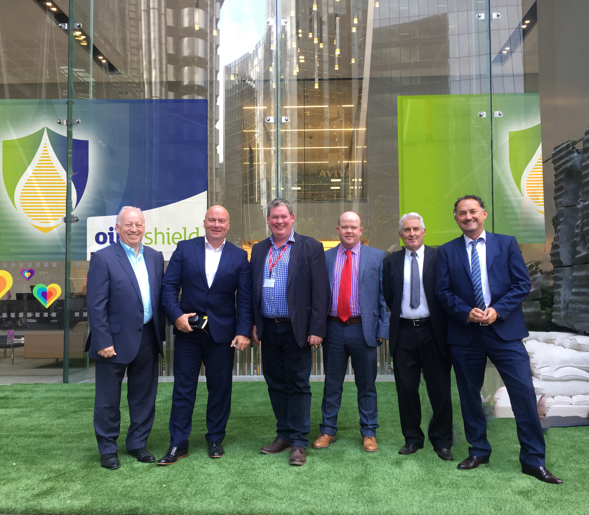 The Oilshield Team outside the Aviva St Helen's Office, London  (left to right) Colin Duxberry (SIA), Jonathan Smith (Aviva), Stewart Ower (Compass Environmental), Dave Gardiner (Evergreen), Chris Browne (SIA), Matt Lamb (Aviva)