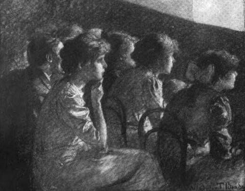 """Mary Vorse, with drawings by Wladyslaw T. Benda, """"Some Picture Show Audiences,""""  Outlook , 1911."""