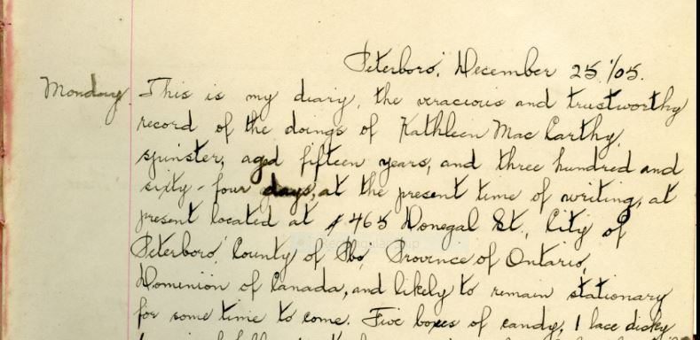 The first page of Cathleen McCarthy's diary. Trent Valley Archives.