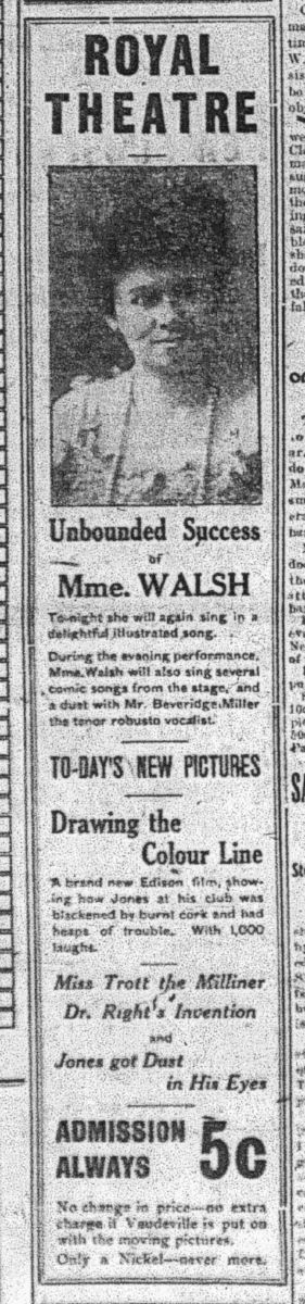 Examiner ,Feb. 25, 1909, p.1. What Fred Simpson went to see at the Royal.