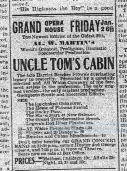 """Presentations of  Uncle Tom's Cabin , as both live theatre and motion pictures,were regular features in the first two decades of the twentieth century. This """"newest edition of the Oldest Hit"""" came to town in January 1912."""