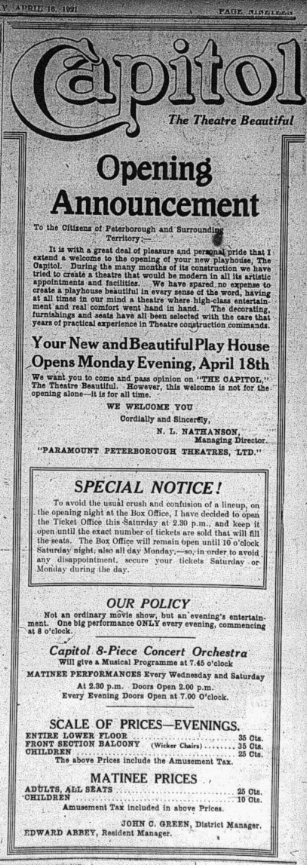 Announcing the Capitol, with its wicker chairs:  Examiner , April 18, 1921, p.18.