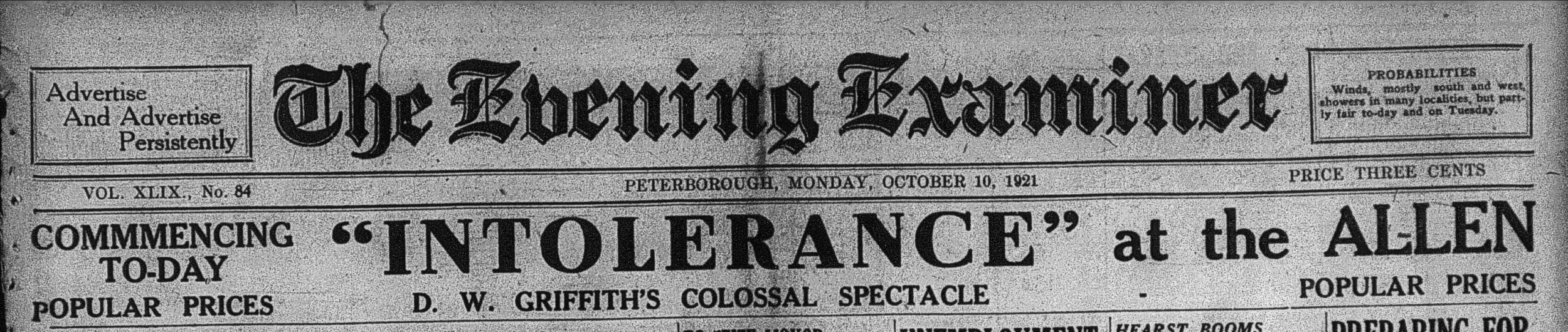 Examiner , Oct. 10, 1921, p.1. Big competition: a front-page banner for the return of a classic at popular prices.