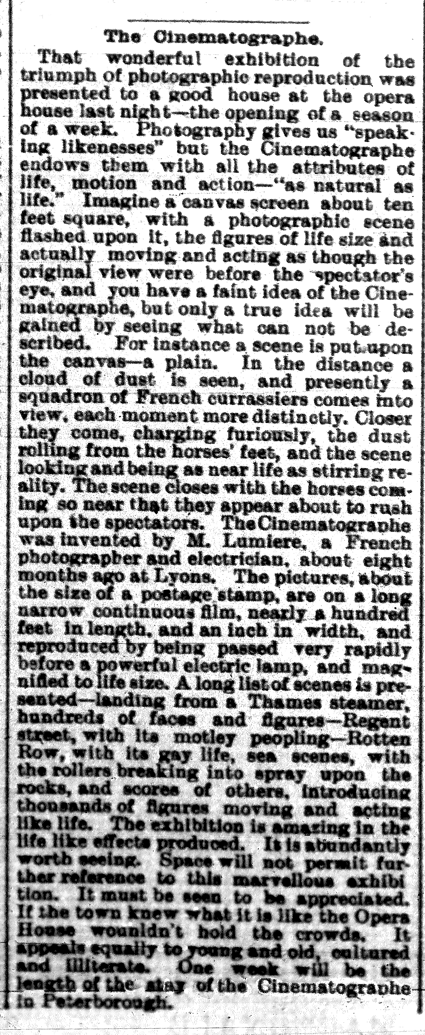 Evening Examiner, Jan. 22,1897. The motion pictures arrive at Peterborough's Bradburn's Opera House.