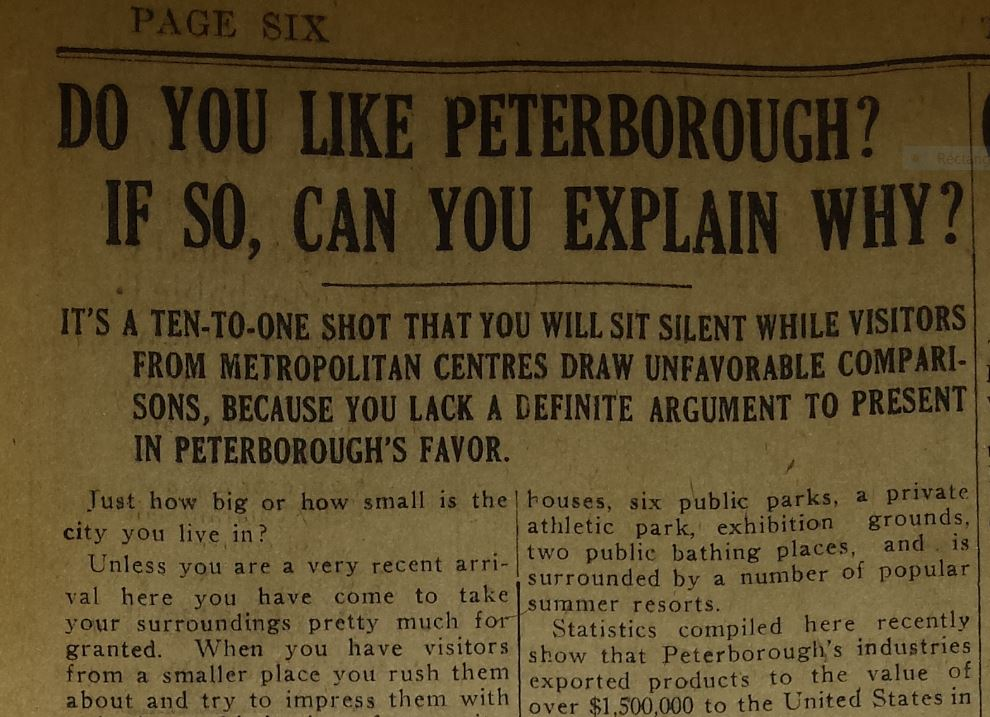 Peterborough Weekly Review, July 28, 1921, p.6.
