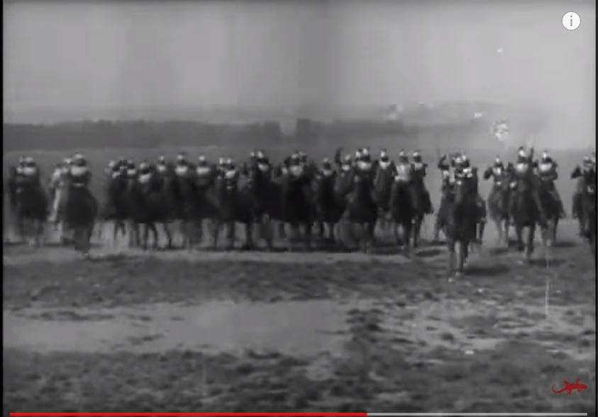 """What those spectators saw: the """"Cuirassiers à cheval,"""" from the Lumière brothers' Cinématographe films, from Lyon, France, 1896."""