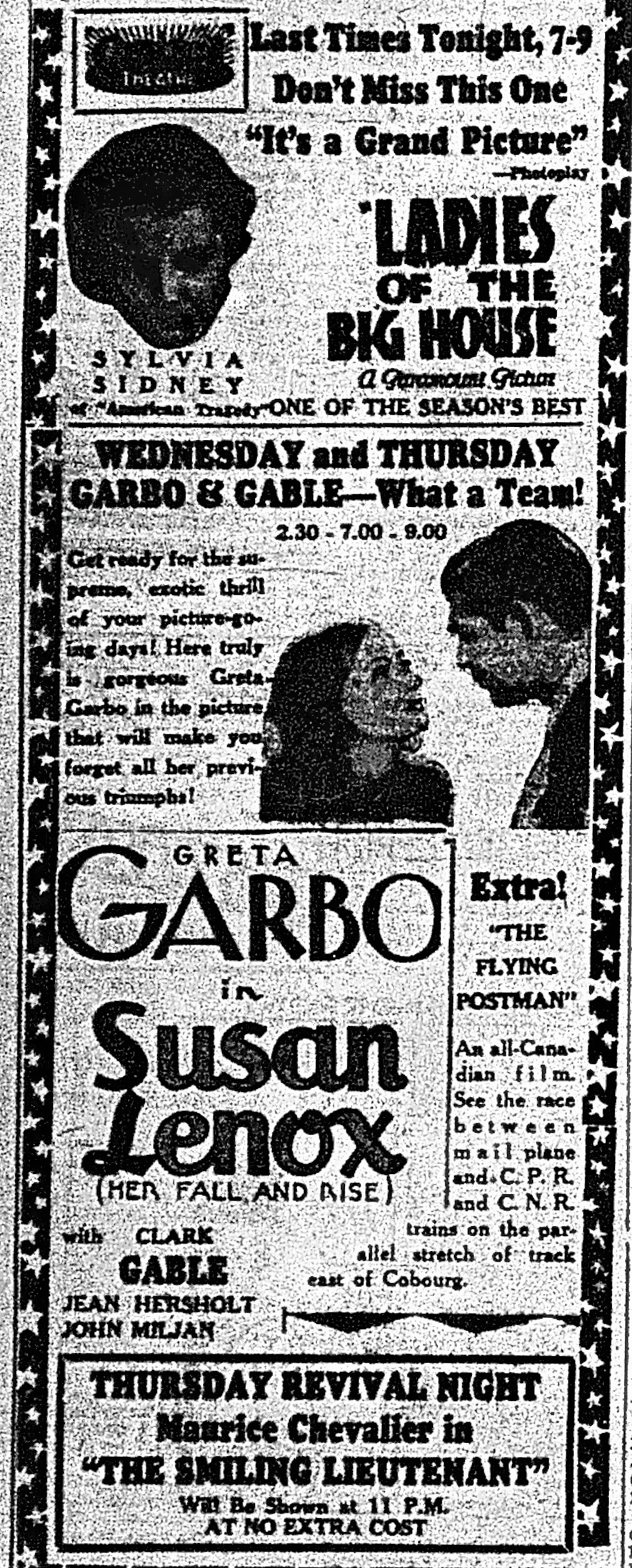 "Capitol Theatre ad,  Examiner , Feb. 16, 1932, p.9. Garbo and Gable — together: not so popular. And an ""all-Canadian film"" too."