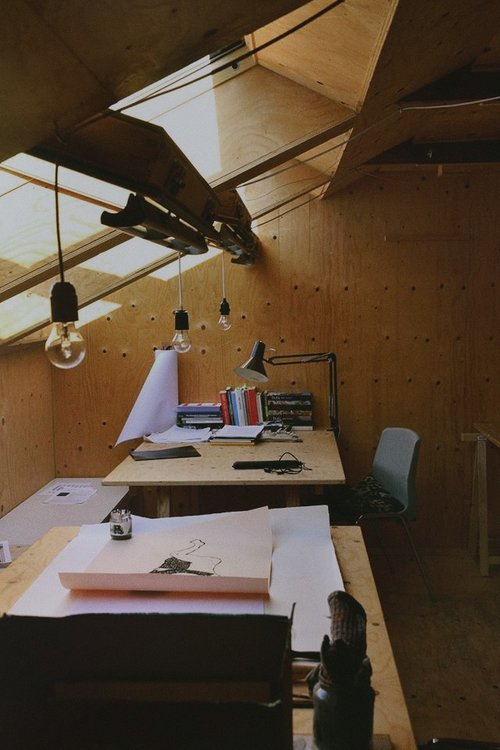 A borrowed desk at Heima Art residency.